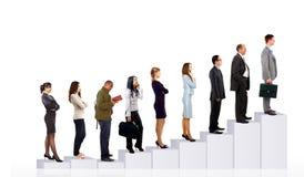 Bedrijfs mensenteam en diagram Stock Fotografie