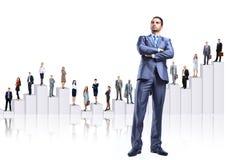 Bedrijfs mensenteam en diagram Royalty-vrije Stock Foto's