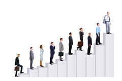 Bedrijfs mensenteam en diagram Stock Afbeelding