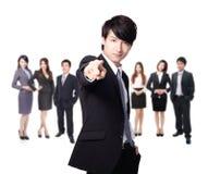 Bedrijfs mensenvinger die op u richten Royalty-vrije Stock Foto