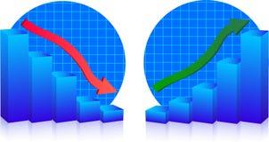 Bedrijfs mislukking en de groeigrafieken Royalty-vrije Stock Afbeelding
