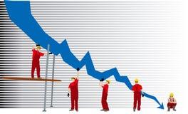 Bedrijfs mislukkingsgrafiek stock illustratie