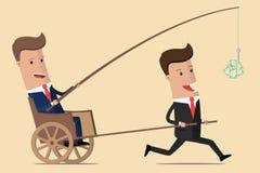 Bedrijfs motivatie De chef- hengel van de holdingsdollar Financiële drijfkracht voor werknemers Managers en Directeur Vector illu stock illustratie