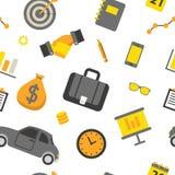 Bedrijfs Naadloos Patroon met Bureauelementen en Financiënvoorwerpen royalty-vrije illustratie