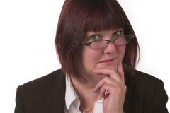 Bedrijfs nadenkende vrouw Stock Foto
