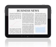 Bedrijfs nieuws op PC van de Tablet Stock Foto