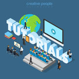 Bedrijfs online onderwijs vlak 3d isometrische vector van een privé-leraar Stock Foto