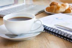 Bedrijfs ontbijt met koffie stock afbeelding