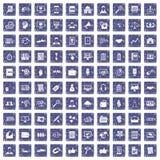 100 bedrijfs opleidingspictogrammen geplaatst grunge saffier Stock Foto