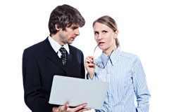 Bedrijfs paar met computer stock afbeeldingen