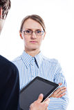 Bedrijfs paar met tabletcomputer stock afbeeldingen
