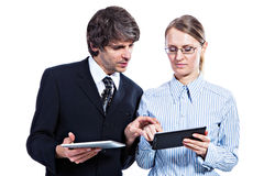 Bedrijfs paar met tabletcomputers stock afbeelding
