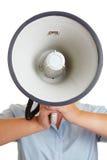 Bedrijfs persoon die een megafoon met behulp van Stock Foto's