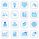 Bedrijfs pictogrammen - blauwe reeks Stock Afbeelding