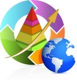 Bedrijfs piramide in de illustratie van de pijlcyclus Stock Fotografie
