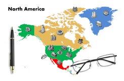 bedrijfs planning op de kaart van Noord-Amerika Stock Foto's