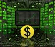 Bedrijfs positieve voorspelde grafiek of resultaten van Dollarmunt Stock Fotografie