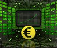 Bedrijfs positieve voorspelde grafiek of resultaten van Euro munt Royalty-vrije Stock Foto's
