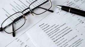 Bedrijfs samenstelling Financiële analyse - inkomensverklaring, businessplan stock footage