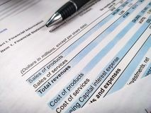 Bedrijfs samenstelling Financiële analyse - inkomensverklaring, businessplan stock afbeeldingen