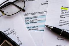 Bedrijfs samenstelling Financiële analyse - inkomensverklaring, businessplan stock foto