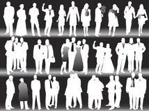Bedrijfs silhouetten Stock Foto's