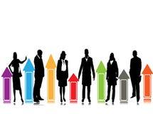 Bedrijfs silhouetten, bedrijfspresentatie Royalty-vrije Stock Fotografie