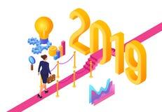 Bedrijfs strategieconcept Nieuw jaar Weg aan Nieuwjaar Onderneemster met aktentas het in hand lopen op rood tapijt tot Nieuwe 201 vector illustratie