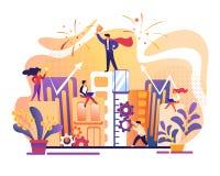 Bedrijfs succes Bureaumensen die samenwerken royalty-vrije illustratie
