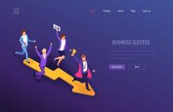 Bedrijfs succes Groepswerksucces, financiële welvaart, de carrièregroei, leiding royalty-vrije illustratie