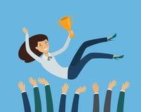 Bedrijfs succes Het toekennen ceremonie, veelbelovend concept Vector illustratie stock illustratie