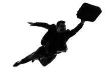 Bedrijfs super mensen vliegend silhouet Stock Afbeelding