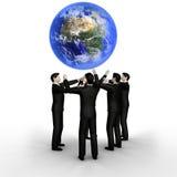 Bedrijfs team en Aarde vector illustratie