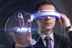 Bedrijfs, Technologie, van Internet en van het netwerk concept Jonge busine Royalty-vrije Stock Foto
