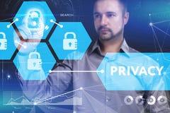 Bedrijfs, Technologie, van Internet en van het netwerk concept Jonge busine Royalty-vrije Stock Afbeelding