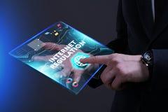 Bedrijfs, Technologie, van Internet en van het netwerk concept Jonge busine Stock Foto's