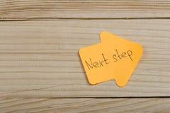 Bedrijfs, toekomst en motivatieconcept - oranje sticker in de vorm van een pijl en een tekst royalty-vrije stock foto's