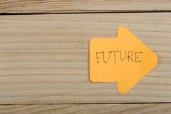 Bedrijfs, toekomst en motivatieconcept - oranje sticker en tekst ' Future' in de vorm van een pijl stock fotografie