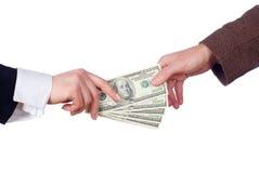 Bedrijfs transactie. Geïsoleerdb royalty-vrije stock afbeelding