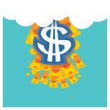 Bedrijfs vector Zilveren dollar een mooie hemel blauwe rug Stock Foto