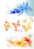 Bedrijfs vectorkaarten met elegant bloemenontwerp Stock Afbeeldingen