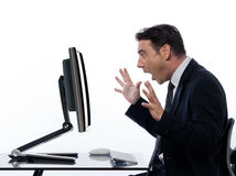 Bedrijfs verraste gegevensverwerking Tussen mens en computer royalty-vrije stock foto
