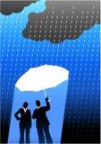 Bedrijfs verzekeringsachtergrond met twee mensen Stock Afbeeldingen