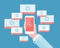 Bedrijfs video marketing inhoud op mobiele online Royalty-vrije Stock Foto's