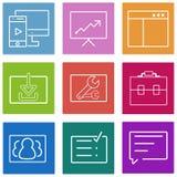Bedrijfs vlakke geplaatste lijnpictogrammen Web en mobiel stock illustratie