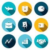 Bedrijfs vlakke geplaatste pictogrammen Royalty-vrije Stock Foto's