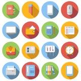 Bedrijfs vlakke geplaatste pictogrammen Stock Afbeeldingen