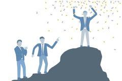 Bedrijfs vlakke ontwerpvector van een gevierde succesvolle mens in een kostuum die zich bovenop een rots bevinden en handen boven stock illustratie