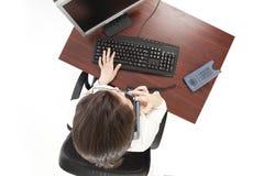 Bedrijfs vrouw bij de telefoon Royalty-vrije Stock Afbeeldingen