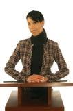 Bedrijfs Vrouw bij Podium stock afbeeldingen